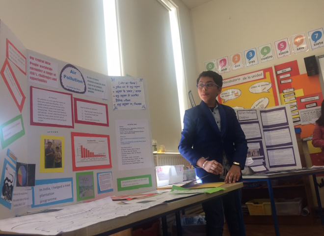 A final year student presenting at Exhibition Night